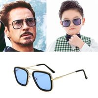 Gafas de sol Lentes Tony Stark Kids Alloy Gafas Vintage Sun Niños 8-16 Años Niños y Niñas Kinder Zonnebrillen