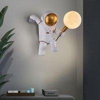 Duvar Lambası Nordic Yaratıcı LED Göz Koruma Kişilik Tasarım Art Deco Astronot Ay Çocuk Yatak Odası Başucu