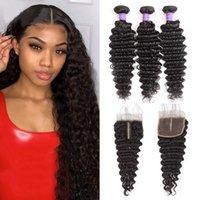 Brazilian Deep Wave Curly Human Hair Weaves 3 Bundles With 4x4 Lace Closure Bleach Knots Closures