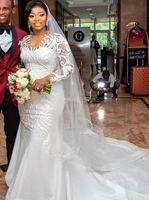 2021 Plus Size Arabic Aso Ebi Sheer Neck Mermaid Wedding Gowns Long Sleeves Lace Sexy Bridal Dresses ZJ436