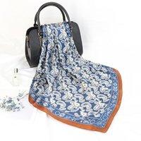 الأوشحة أزياء شال للنساء الأزهار الطباعة الحرير الحرير الحجاب وشاح الإناث يلف مربع شالات باندانا وشاح السيدات FJ199