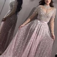 Luxury Blush Pink Prom Dresses high neck A Line sequined Beaded Crystals Floral Applique Wateau Train Rhinestone Formal Evening Party Gowns