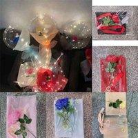 LED Luminous Balloon Rose Bouquet Transparent Clear BOBO Balls with Stick Bobo Ball Valentine's Day Gift Birthdays Weddings Parties Favor Ornament Decor H9294DWU