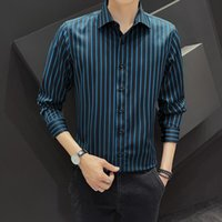 Men's Dress Shirts Oversized Casual Professional Workwear Striped Shirt Office Male Suit Work Business Commuter Quality Tops