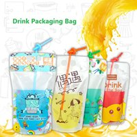 100pcs lot 500ml Cute Design Stand Up Plastic Drink Packaging Bag Pouch for Beverage Water Juice Milk Coffee, with Hole Handle