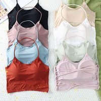 Bras Seamless Ice Silk Women Wrapped Chest Cross Sling Vest Soft Pad Comfortable Breathable Backless Lady Underwear