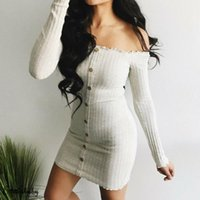 Hirigin Sexy Women's Bodycon Knitted Sweater Dress Off-shoulder Button Long Sleeve Casual Short Skinny Mini Dresses