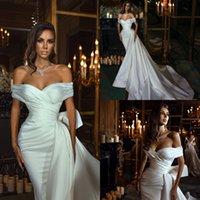 Elegant Satin 2022 Mermaid Wedding Dresses With Detachable Train Bridal Gowns Beaded Off The Shoulder Vestido De Novia
