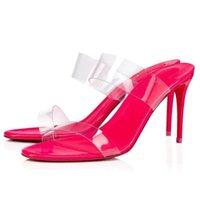 """الصيف الأزياء الصنادل النساء أحذية المطاط باطن أحمر أسفل الكعب العالي """"فقط لا شيء"""" المغبرة واضحة pvc الشريحة بغل صندل كعب مضخات 85 ملليمتر"""