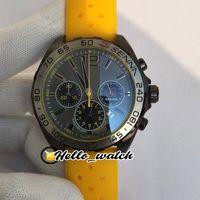 3а 44 мм F1 часы серый циферблат VK кварцевый хронограф мужские часы секундомер PVD черный стальный корпус желтый резиновый ремешок гоночный автомобиль HWTA HELLO_WATCH