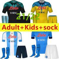 Yetişkin Çocuklar Tam Kitleri + Çorap 2021 2022 Insigne Napoli Futbol Forması 20 21 22 Zielinski Maradona Mertens Callejon Player RPG Futbol Gömlek Çocuk Üniforma Setleri