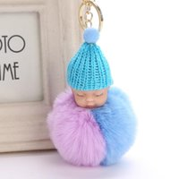 Keychains Cute Sleeping Baby Doll Keychain Double Color Pompom Faux Fur Ball Key Chains Car Keyring Women Holder Bag Pendant