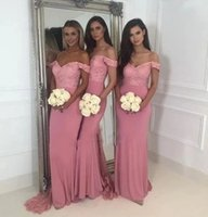 Blush Pink Mermaid Bridesmaid Dresses Off Shoulder Sweep Train Lace Appliques Garden Wedding Guest Party Gowns