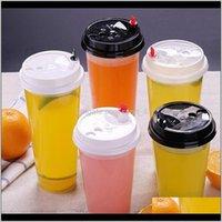 STS 700ml 24 oz 일회용 플라스틱 컵 차가운 음료수 주스 커피 밀키 차 컵 뚜껑이있는 투명한 음료 도구 C7F01 G1Si3