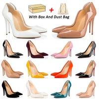 С коробкой мода красных дна высокие каблуки дизайнерские платье обувь вечеринка свадьба женщины тройной черный роскошный шипы указательные насосы насосы на насос мокасины 35-42