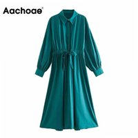 Aachoae Lady Solid Elegant Shirt Dress Batwing Long Sleeve Casual Midi Drawstring Vintage Women Autumn Spring XS-L Dresses