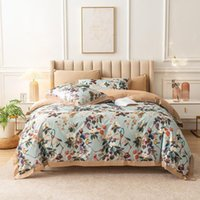 Bedding Sets Floral Birds Watercolor Leaves Flowers Art Print Duvet Cover Set 4Pcs 100%Egyptian Cotton With Bed Sheet 40