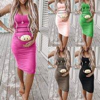 Women's Fashion Cute Baby Printed summer pregnant dress Sleeveless maternity dresses casual sevimli hamile elbise 4661 Q2