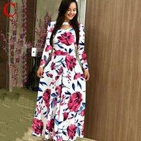 Casual Dresses Women Spring Plus Size Bohemian Long Sleeve Maxi Dress Polka Dot Floral Flower Print Slim Elegant Boho Party Vintage