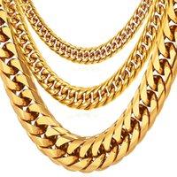 Kette Halsketten für Männer Miami Cuban Link Gold Hip Hop Schmuck Lange Dicke Edelstahl Große Chunky Halskette Geschenk N453