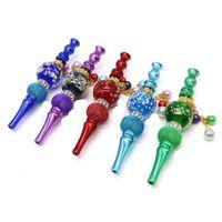 Smoke Pipes Glow In Dark Hanging Beads Blunt Holder Crystal Inlaid Portable Hookah Shisha Tips Smoking Nozzles Luminous 13jka C2 P3H0 5E82