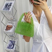 Evening Bags Customized Bead Bag Green Hand-woven Celebrity Handbags Unique Design Ladies Party Top-handle Purses And
