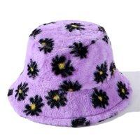 Sombreros de Pescador Con Margaritas Piel Para Mujer، Gorros Gruesos Sombrero Terciopelo واسعة حافة القبعات