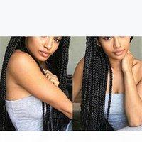 Длинные черные синтетические плетеные кружева передние парики Высокотемпературное волокно Perruques de Chevaux Hugs Wig ls058