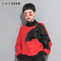 Женские толстовки толстовки кофты Chicever черная лоскутная толстовка для женщин водолазка с длинным рукавом плюс размер свободных повседневных женских осенью 2021
