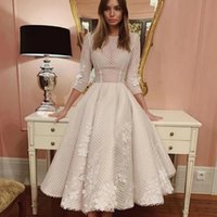 Elegant White Tulle Tea Length Prom Dresses 2021 O Neck Three Quarter Sleeve 3D Flower Plus Size Formal Evening Party Gowns