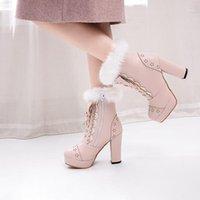 Botas lolita meninas inverno rosa mulheres pele bowtie borboleta-nó linda senhoras jk-uniforme japonês cosplay festa casamento sapatos1