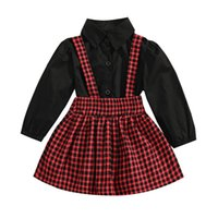 Clothing Sets Infant Kids Baby Girls Casual Two-piece Clothes Set, Black Solid Color Blouse Plaid Printed Pattern Suspender Skirt, 1-5 Years