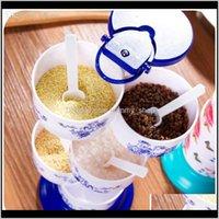 Autre cuisine de la vaisselle, Bar à manger Home Jardin Drop Livraison 2021 Vanzlife-Vanzlife Creative Vertical Rotatif Spice Jar Set d'assaisonnement