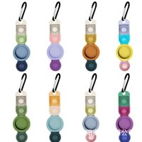Silicone Cases for Airtag Protective Cover Skin with Anti-Lost Keyring Locator Tracker Decompression Toy Push it