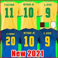 BRAZIL Camiseta de fútbol PAQUETA NERES COUTINHO BRÉSILS FIRMINO JESUS camisetas 20 21 MARCELO PELE brasil hombres + kit de niños maillot de foot de la soccer jerseys chandal