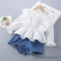 Çocuklar Prenses Giyim Setleri Kızlar Dantel Hollow Nakış Falbala Fly Kollu Bluser + Çift Cep Kemeri Denim Şort 2 adet Çocuk Kıyafetleri Q2057
