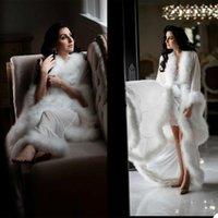 Wraps & Jackets White Warm Fur Wedding Pajama Set Women Winter Sleepwear Long Sleeve Robe Prom Evening Nightgowns 2 Pieces