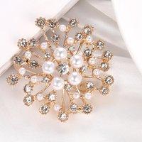 Neue Mode Imitation Pearl Strass Kristall Blume Broschen Für Frauen Hochzeit Braut Party Runde Strauß Brosche Pin