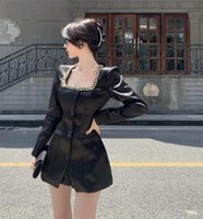 Women's Tracksuits Streetwear Retro Slim Waist Black Square Collar Chain Satin Blazer Jacket Mini Suit Dress Wide Leg Shorts Sets Goth Fashi