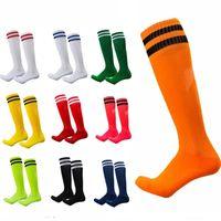 Gelin Garters Unisex Spor Çorap Futbol Kadın Erkek Çizgili Diz Yüksekliği Atletik Spor Futbol Futbol Koşu Egzersiz Çorap Tüp Stok