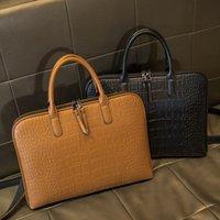 2021 Business Womens Pasta de couro bolsa de couro Totes 15.6 14 polegadas saco portátil sacos de escritório de ombro para pastas femininas