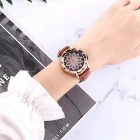 Wristwatches Ladies Watch Casual Fashion Flower Rhinestone Dial Quartz Leather Wristwatch Simple Designer Women Clock Orologio Saat
