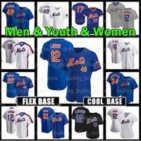 요크 맞춤형 새로운 Mets 12 Francisco Lindor Jersey 30 Michael Conforto 34 Noah Syndergaard 32 Aaron Loup Flex Cool Base Baseball Jerseys