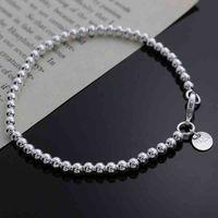 Brazalete pulsera hermosa moda elegante oro plata color 4 mm perlas cadena mujeres carta linda de alta calidad magnífico joyería H198
