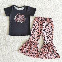Butik Çocuklar Yaz Kısa Kollu Kıyafetler Yürüyor Kız Siyah Top ve Çan Seti Mektuplar Tasarım Leopar Giyim Suit