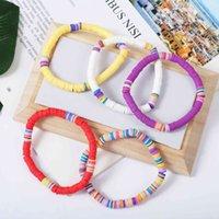 Handmade Jewelry Wholesale Jewelry Bohemian Beach Mixed Color Soft Pottery Disc Bracelet women Bracelets