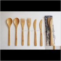 Setleri Çevre Dostu Çatal Bambu Yemek Bıçak Çatal Kaşık 3 adet 1 takım Akşam Yemeği Japon Sofra Seti 4uwth OMZFD