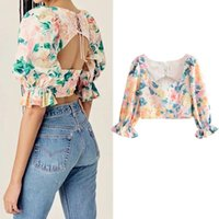 Vintage Backless Floral Print Crop Top Summer Women Casual Blusas Mujer De Moda 2021 V Neck Puff Sleeve Blouse Shirts Holiday Women's Blouse