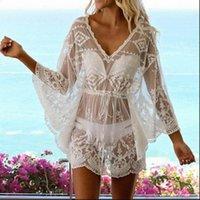 여성 드레스 섹시한 여름 해변 드레스 수영복 레이스 꽃 비키니 커버 수영복 기모노 블라우스 자외선 차단제 탑스