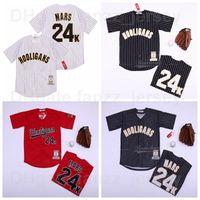 Moive Beyzbol Hooligans 24 K Bruno Mars Jersey Erkekler Pinstripe Siyah Kırmızı Beyaz Takım Renk Nefes Tüm Dikiş Serin Baz Saf Pamuk En Kaliteli Satılık